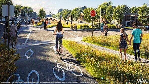 Piste cyclage et sentier piétonnier sur la friche ferroviaire - Arrondissement de Rivière-des-Prairies—Pointe-aux-Trembles